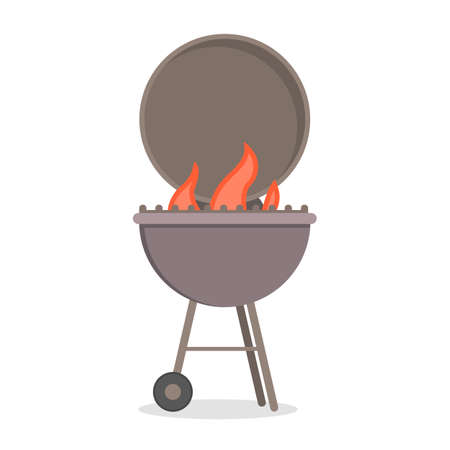 Barbecue grill for cooking delicious meat. BBQ party with hot tasty food. Beef or pork. Isolated flat vector illustration Illustration