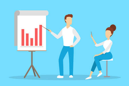Man making business presentation in front of group of people. Team presenting business plan on seminar. Flat vector illustration Illustration