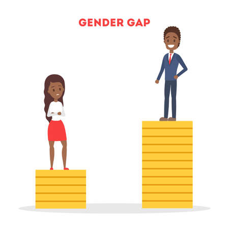 Gender gap web banner concept. Idea of different salary Ilustração
