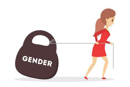 Gender gap web banner concept. Idea of different salary Illustration