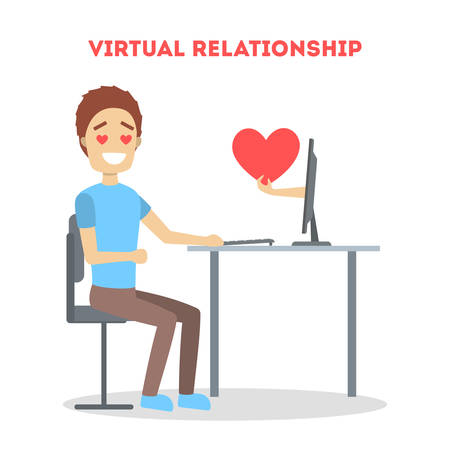 Virtual relationship and love dialog. Communication between people through network on the smartphone. Perfect match. Flat vector illustration