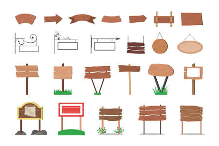Wooden signboard set. Collection of various sign made of wood. Blank billboard, empty space for message. Isolated flat vector illustration