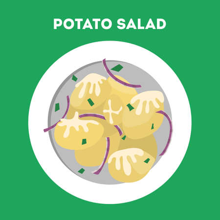 Potato salad in a plate. Tasty dish with vegetable