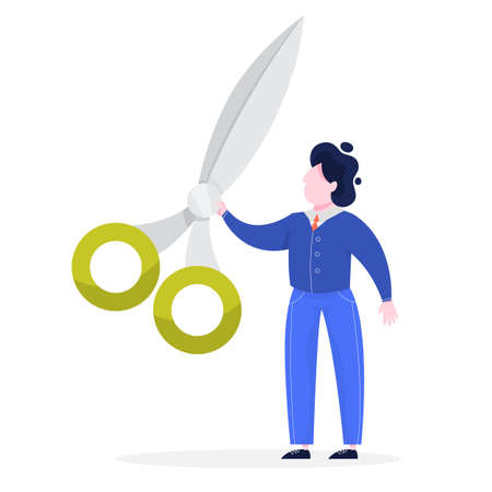 Businessman in a suit holding big scissors. Equipment for barber. Idea of opening ceremony. Isolated vector illustration in cartoon style