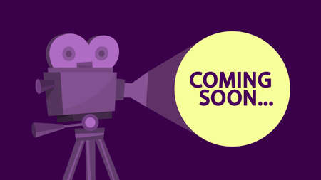 Coming soon message on the cinema screen. Idea of film Illustration