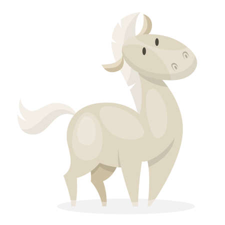 Horse wild or domestic animal. White mammal from the farm. Isolated vector illustration in cartoon style
