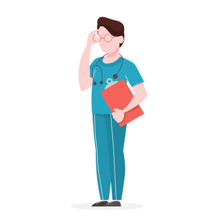 Doctor in a uniform standing and holding clipboard. Idea of heath and medical tretament. Professional worker with stethoscope. Isolated vector illustration in cartoon style