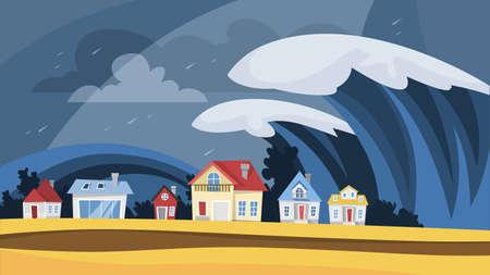 Tsunami disaster. Big wave cover the village Vector Illustratie