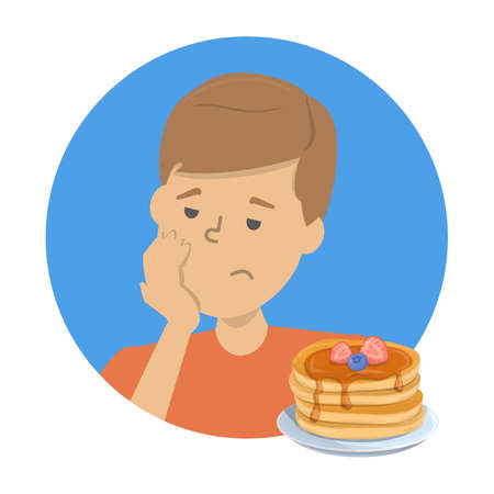 Man with food aversion or eating disorder. Guy refuse tasty food. Symptom of disease. Unhealthy eating. Isolated vector illustration in cartoon style Illustration