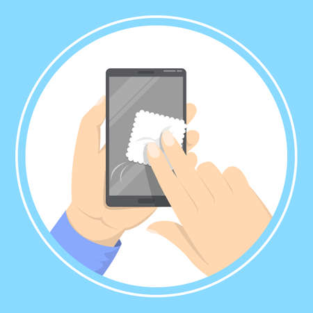 Hand holding and cleaning mobile phone screen with a napkin. Dirty smartphone display with microbes. Isolated vector illustration in cartoon style