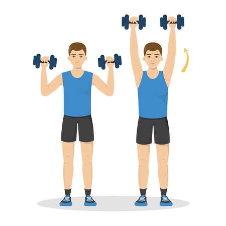 Hombre haciendo ejercicios de brazo con mancuernas. Idea de estilo de vida activo y saludable. Construcción de músculos deportivos y bíceps. Ilustración de vector aislado en estilo de dibujos animados