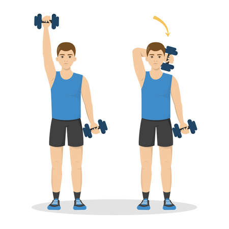 Man doing arm workout using dumbbell. Idea of healthy and active lifestyle. Sport and tricep muscle building. Isolated vector illustration in cartoon style