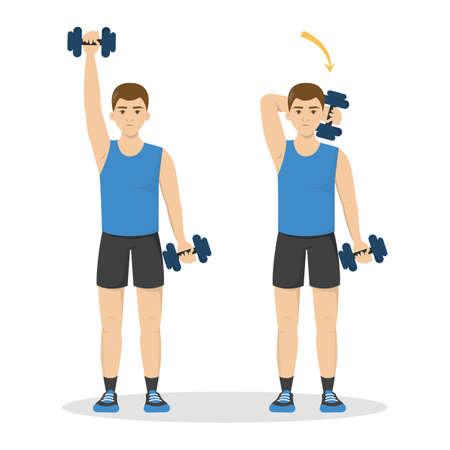 Uomo che fa allenamento del braccio usando il manubrio. Idea di stile di vita sano e attivo. Sport e costruzione muscolare tricipiti. Illustrazione vettoriale isolato in stile cartone animato Vettoriali