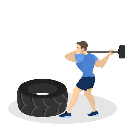 Man doing workout. Fitness and bodybuilding exercise in the gym. Healthy and active lifestyle. Isolated vector illustration in cartoon style Illustration