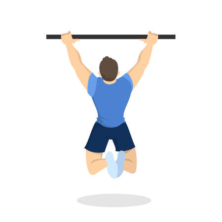 Man doing pull-ups workout. Fitness and bodybuilding exercise in the gym. Healthy and active lifestyle. Isolated vector illustration in cartoon style