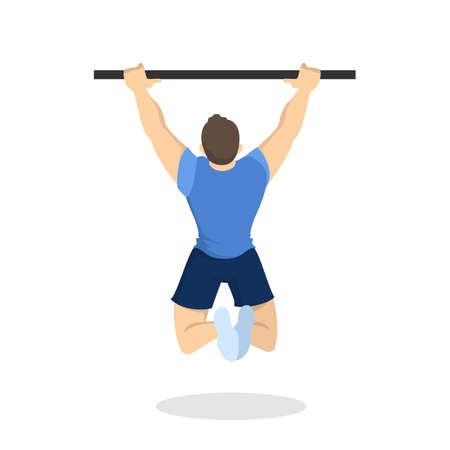 Uomo che fa allenamento di pull-up. Esercizio di fitness e bodybuilding in palestra. Stile di vita sano e attivo. Illustrazione vettoriale isolato in stile cartone animato