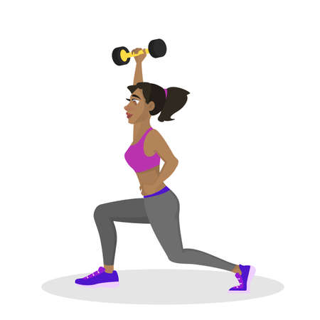 Woman making lunges with dumbbell. Doing sport exercises in gym. Leg workout. Muscle building. Healthy and active lifestyle. Isolated vector illustration Illustration