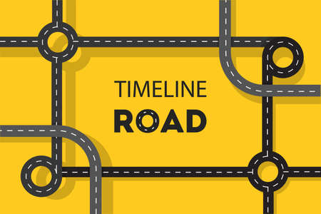 Timeline road concept web banner. Idea of journey and trave on the asphalt highway. Vector illustration in cartoon style