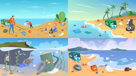 Nature pollution set. Garbage and trash, danger for ecology. Turtle swimming in the sea between waste. Bags and bottles, plastic rubbish. Vector illustration in cartoon style