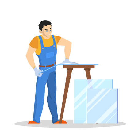 Repairman cut glass. Professional worker in the uniform making glass installation. Repair service concept. Isolated vector illustration in cartoon style