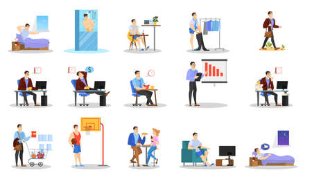 Daily routine of a man set. Guy having breakfast in the morning, work and sleep. Businessman schedule. Working in office on computer. Isolated vector illustration in cartoon style