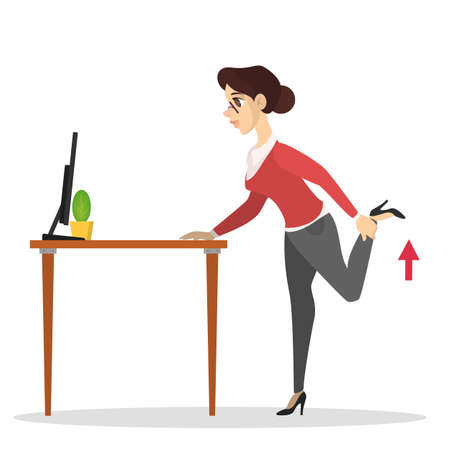 Woman doing exercise in office using desk. Workout during the break. Stretching back and leg. Body relaxation. Vector illustration in cartoon style