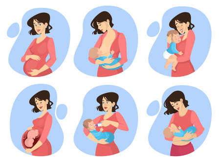 Pregnancy and maternity set. Woman breastfeeding newborn baby. Young mother with a big belly. Expecting child. Vector illustration in cartoon style