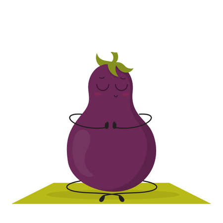 Eggplant character doing yoga exercise in lotus pose. Funny food doing sport in the gym. Isolated vector illustration in cartoon style
