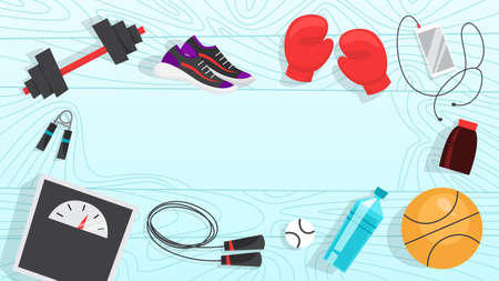 Sport exercise web banner. Time to fitness and workout concept. Idea of active and healthy lifestyle. Training equipment. Vector illustration in cartoon style