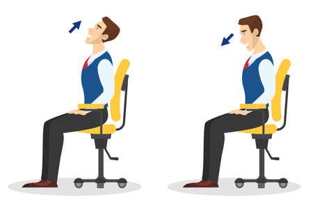 Hombre haciendo ejercicio para estirar la espalda en la oficina. Entrenamiento durante el descanso. Estirar cuello y hombros. Relajación corporal. Ilustración vectorial en estilo de dibujos animados