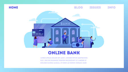 Online banking web banner concept. Making financial operations such as payment and investment using digital device. Money transaction online. Isolated vector illustration in cartoon style