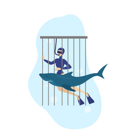 Cage diving. Extreme underwater activity. Man diver in the costume and shark swimming around. Dangerous predator. Isolated vector illustration in cartoon style