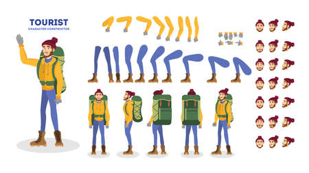 Traveler character animation set. Active and extreme lifestyle. Travel or adventure. Outdoor activity. Tourist with backpack. Vector illustration in cartoon style Ilustração