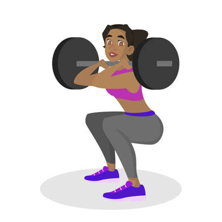 Woman making squats with barbell. Doing sport exercises in gym. Leg workout. Muscle building. Healthy and active lifestyle. Isolated vector illustration