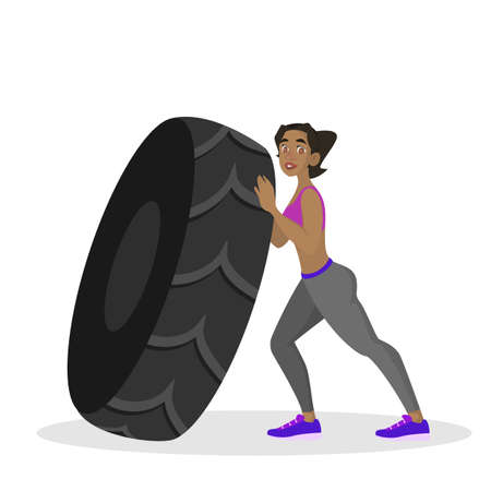 Woman doing workout. Fitness and bodybuilding exercise in the gym. Woman with a rope. Healthy and active lifestyle. Isolated vector illustration in cartoon style