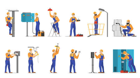 Electricity works set. Professional worker in the uniform repair electrical elements. Technician repair light and socket. Isolated vector illustration in cartoon style Standard-Bild - 122515837