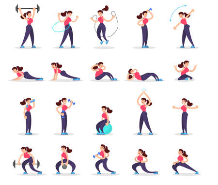 Woman doing various sport exercise set. Training in the gym, fitness activity. Muscle building concept. Vector illustration in cartoon style Vettoriali