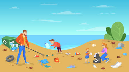 Family clean the beach. People put away garbage, trash and rubbish. Care about environment. Kids and parents volunteering. Vector illustration in cartoon style  イラスト・ベクター素材