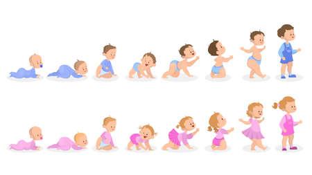 Proceso de crecimiento del bebé. Desde recién nacido hasta preescolar. Idea de infancia. Niño niña y niño. Ilustración de vector aislado en estilo de dibujos animados