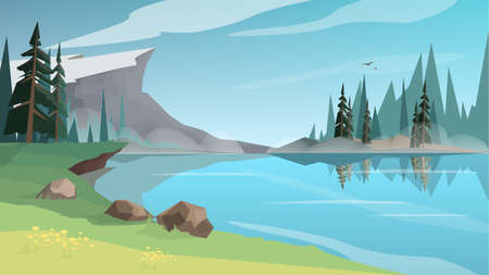 Beautiful lanscape with a pond, river or lake. Nature with a green grass and blue sky. Idyllic wood scenery. Vector illustration in cartoon style Ilustração