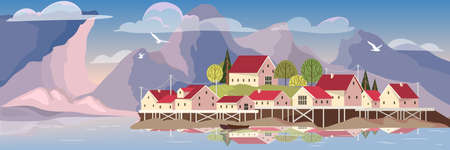Beautiful landscape with a lake and village. House with red roof on the island. Natural scene, mountain on the background. Vector illustration in cartoon style