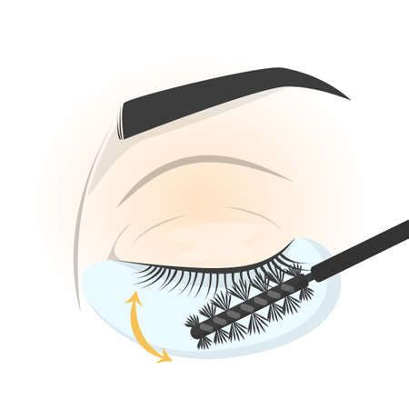 Brushing eyelash on the eye before applying fake lash. Eyelash extension guide. Isolated vector illustration in cartoon style