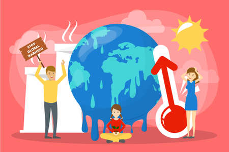 Global warming concept. Idea of climate change and danger for ecology. Save nature, stop the pollution. Vector illustration in cartoon style Ilustrace