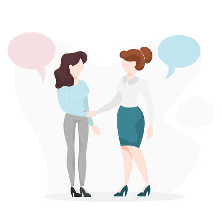 Two people shaking hands. Business deal and partnership online. Idea of teamwork and agreement. Isolated vector cartoon illustration 矢量图像