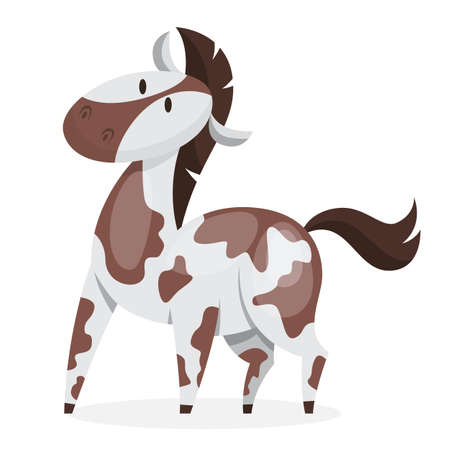 Horse wild or domestic animal. Brown and white mammal from the farm. Isolated vector illustration in cartoon style Ilustracja