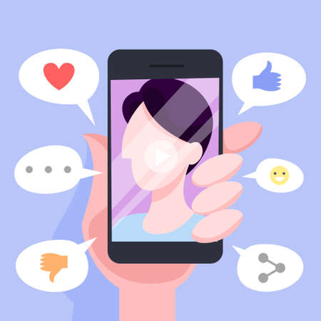 Online communication through mobile phone concept. Chat in messenger. Love chatting or dialog. Person avatar on smartphone screen. Vector illustration in cartoon style