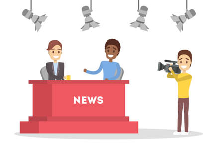 Shooting news show in the studio. Newscaster in business suit. Cameraman and videographer standing with camera. Interview on TV. Isolated flat vector illustration Illustration