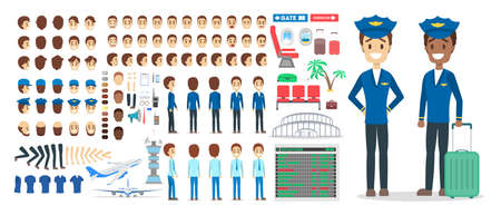 Pilot character set for the animation with various views, hairstyle, emotion, pose and gesture. Airport element. Flat vector illustration Ilustração