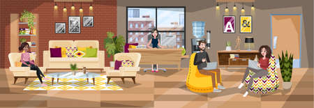 Office building interior. Reception room with administrator and visitor. Office worker and client. Woman waiting in the hall. Vector illustration in cartoon style