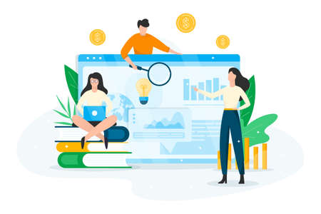 Business planning concept. Idea of analysis and management. Financial development. People making research. Vector illustration in cartoon style Illusztráció